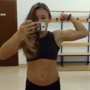 14 years old Gymnast Giovanna Flexing abs and biceps
