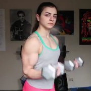 17 years old Fitness girl Tessa Biceps curls