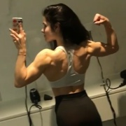 18 years old Fitness girl Beatriz Flexing muscles