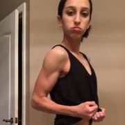 14 years old Fitness girl Becca Flexing muscles