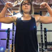 17 years old Fitness girl Delaney Flexing biceps