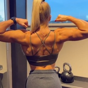 18 years old Fitness girl Julia Flexing biceps