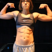 17 years old Fitness girl Delaney Flexing muscles