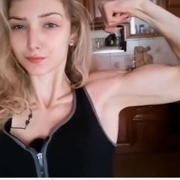 17 years old Fitness girl Alexia Flexing biceps